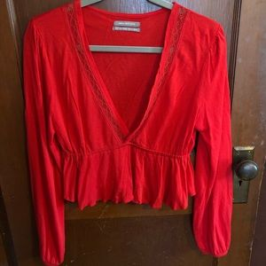 Urban Outfitters Cherry red long-sleeve crop top